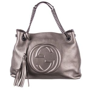 100% Auth New Gucci Gray Metallic Pebbled Tote